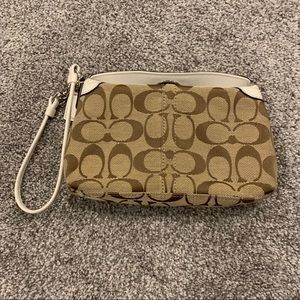 Coach Brown Canvas Wristlet